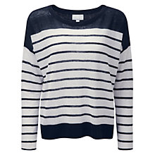 Buy Pure Collection Knitted Stripe Linen Jumper Online at johnlewis.com