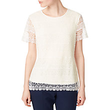 Buy Precis Petite Stripe Lace Blouse, White Online at johnlewis.com