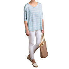 Buy Pure Collection Luxury Linen Stripe Poncho Top, Blue/Lime Online at johnlewis.com
