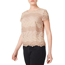 Buy Precis Petite Sara Stripe Lace Top, Neutral Online at johnlewis.com