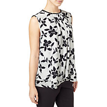 Buy Precis Petite Mono Floral Woven Front Top, White/Black Online at johnlewis.com