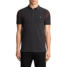 Buy AllSaints Reform Varsity Short Sleeve Polo Shirt, Washed Black Online at johnlewis.com