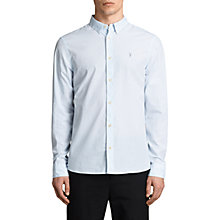 Buy AllSaints Kelso Pinstripe Slim Fit Long Sleeve Shirt, Light Blue/White Online at johnlewis.com