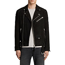 Buy AllSaints Bonson Suede Biker Jacket, Washed Black Online at johnlewis.com