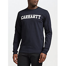 Buy Carhartt WIP Long Sleeve College T-Shirt, Navy/White Online at johnlewis.com