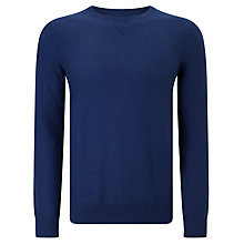 Buy Gant Twill Textured Cotton Jumper, Blue Online at johnlewis.com