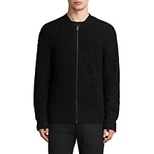Buy AllSaints Vektarr Zip Through Knitted Jumper, Black Online at johnlewis.com