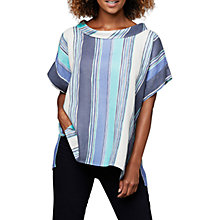 Buy East Henley Print Linen Bardot Top, Indigo Online at johnlewis.com