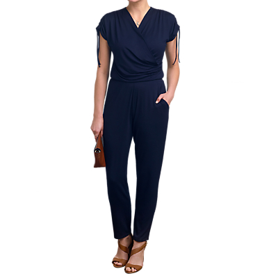 Pure Collection Jersey Tie Detail Jumpsuit, Navy