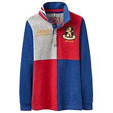 Buy Little Joule Boys' Junior Try Harlequin Rugby Top, Blue/Red Online at johnlewis.com
