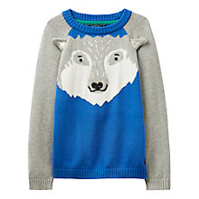 Buy Little Joule Boys' Howling Wolf Knit Jumper, Blue/Grey Online at johnlewis.com