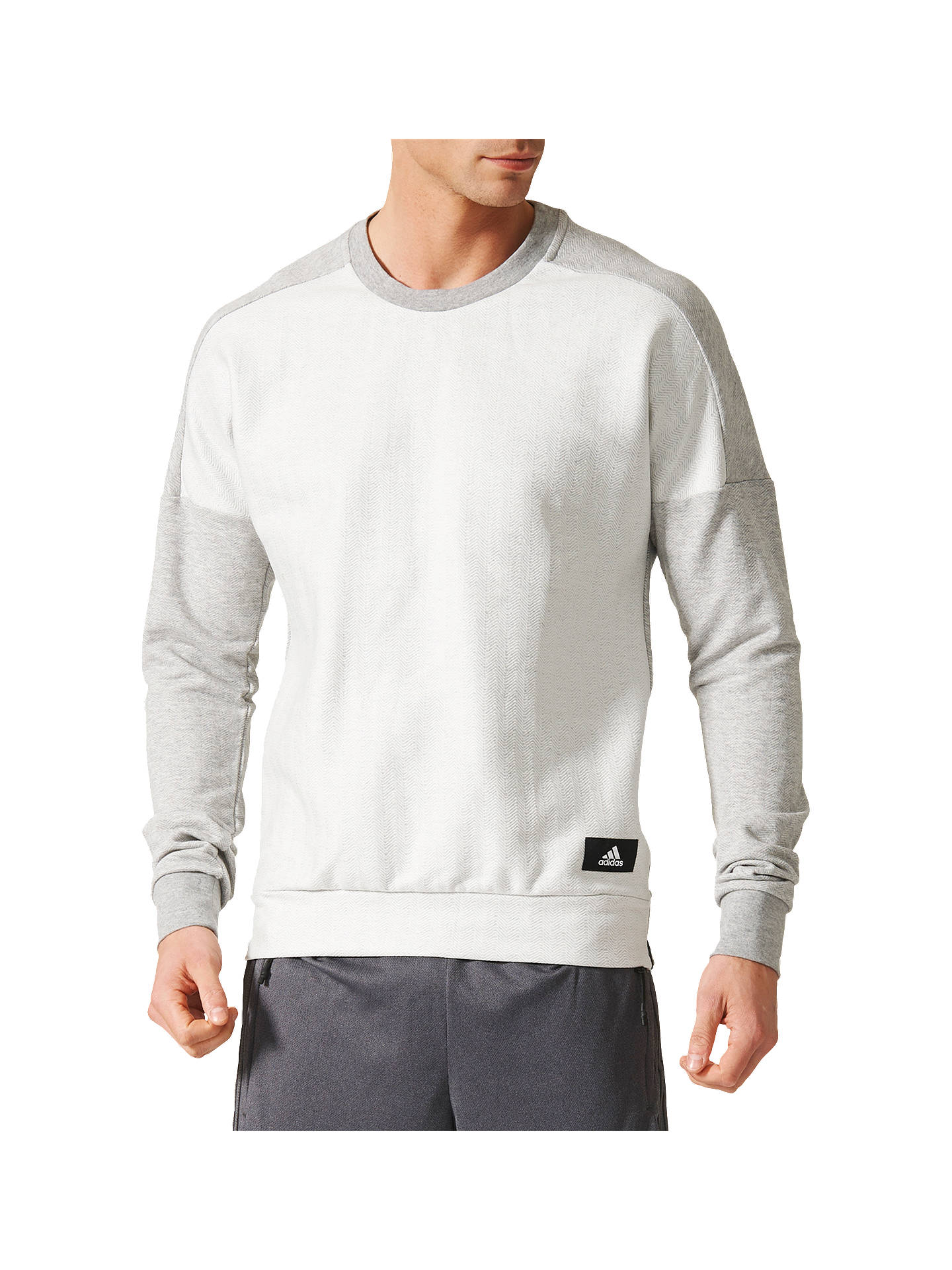 bfd3d2880c3d Buy adidas ID Crewneck Men's Sweatshirt, Grey, S Online at johnlewis. ...
