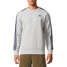 Buy Adidas Essentials 3-Stripes Crew Sweatshirt, Grey Online at johnlewis.com