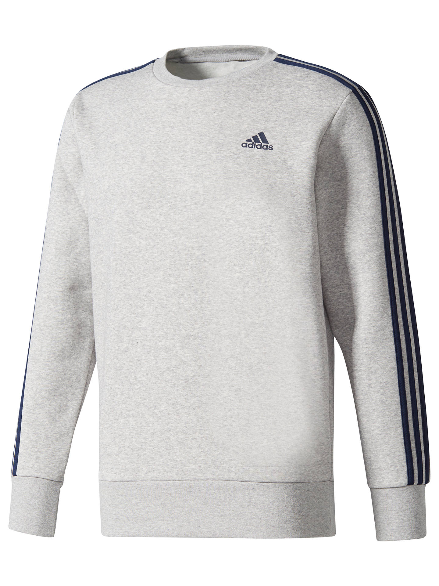230a144c8 Buy Adidas Essentials 3-Stripes Crew Sweatshirt, Grey, S Online at  johnlewis.