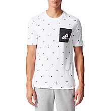 Buy Adidas Essentials Graphic Pocket T-Shirt, White Online at johnlewis.com