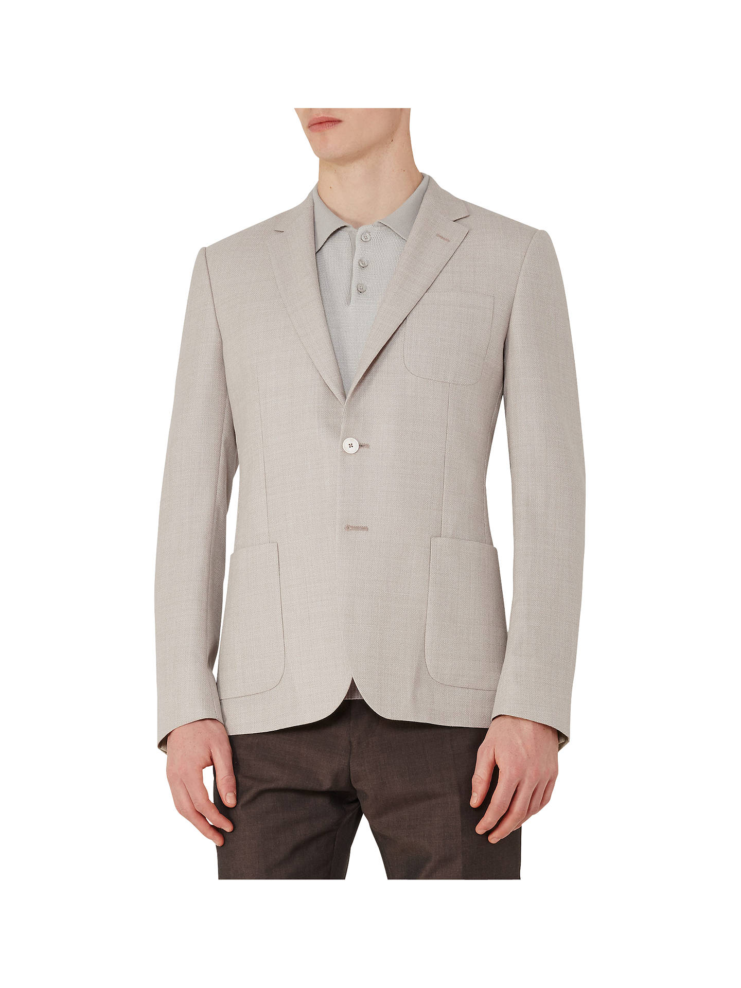 b011aaa9d4 Reiss Blaine Hopsack Wool Modern Fit Blazer, Stone at John Lewis ...