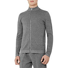 Buy Reiss Basillica Funnel Neck Zip Cardigan, Grey Marl Online at johnlewis.com