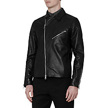 Buy Reiss Fauborg Leather Biker Jacket, Black Online at johnlewis.com