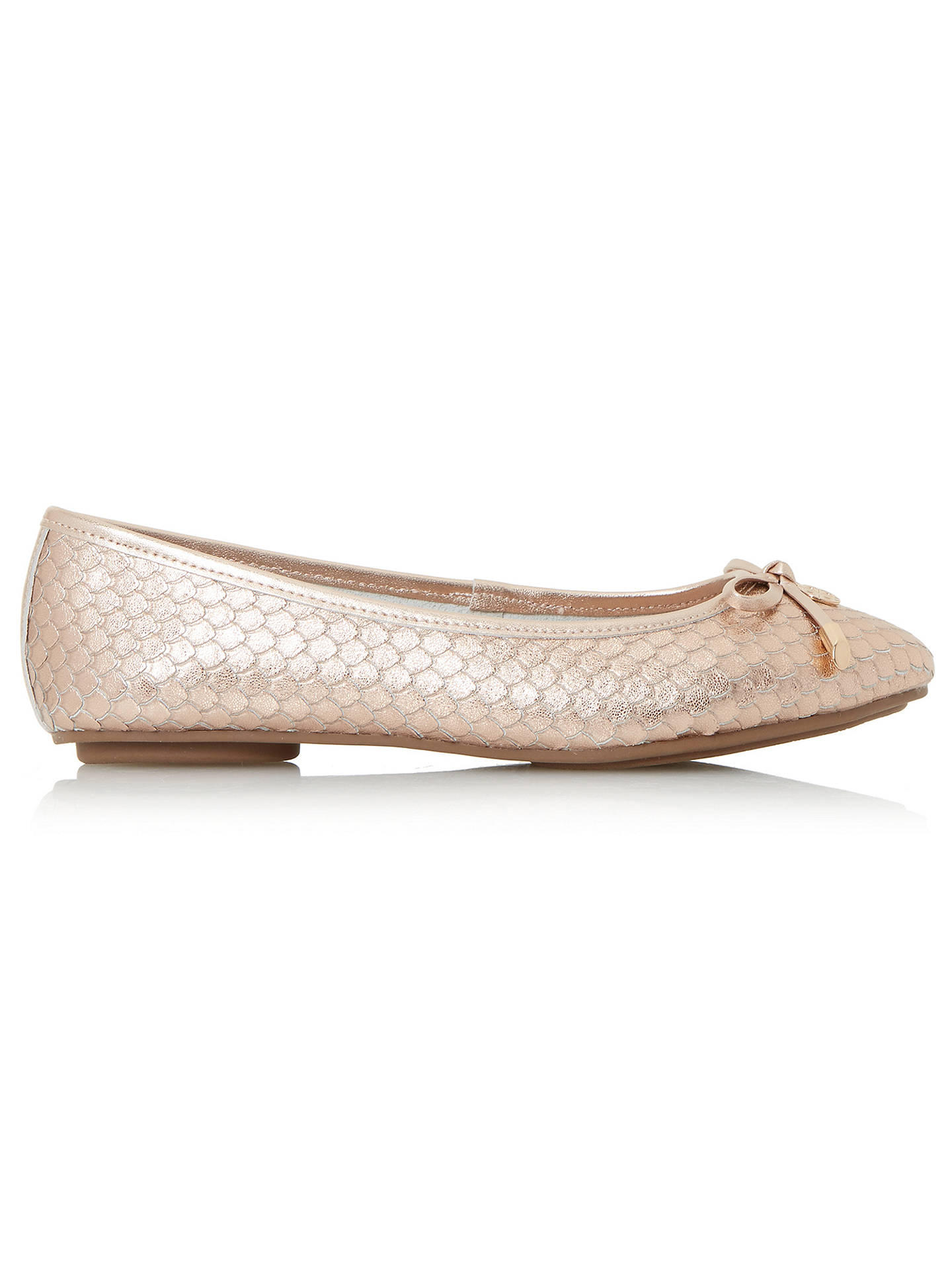 BuyDune Wide Fit Hype Bow Ballet Pumps, Rose Gold, 3 Online at johnlewis.com