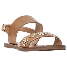 Buy Dune Wide Fit Luma Embellished Flat Sandals, Tan Online at johnlewis.com