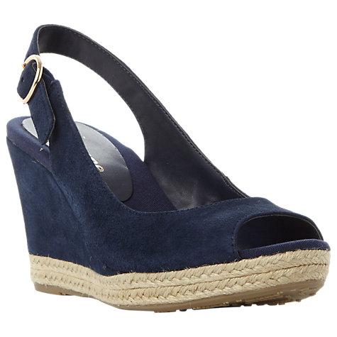 Buy Dune Wide Fit Klick Wedge Heel Sandals, Navy Suede | John Lewis