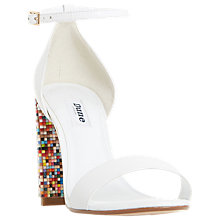 Buy Dune Millionss Beaded Block Heeled Sandals, White Online at johnlewis.com