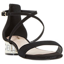 Buy Dune Wide Fit Mermaid Embellished Cross Strap Sandals, Black Online at johnlewis.com