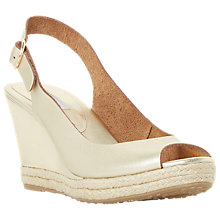 Buy Dune Wide Fit Klick Wedge Heeled Sandals, Gold Leather Online at johnlewis.com