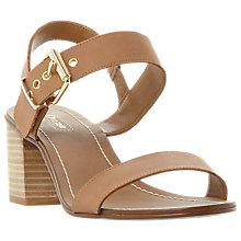 Buy Dune Wide Fit Jany Buckle Block Heeled Sandals, Tan Online at johnlewis.com