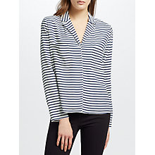 Buy Samsoe & Samsoe Livia Stripe Shirt, Dark Blue Stripe Online at johnlewis.com