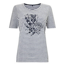 Buy Gerry Weber Printed Stripe T-Shirt, Navy/Cream Online at johnlewis.com