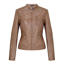 Buy Gerry Weber Leather Biker Jacket, Sepia Online at johnlewis.com