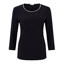 Buy Gerry Weber 3/4 Sleeve Beaded Trim T-Shirt, Indigo Online at johnlewis.com