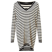 Buy Maison Scotch Longline Stripe Jumper, Black/Ecru Online at johnlewis.com