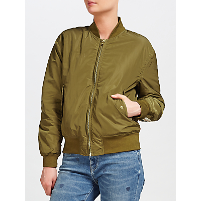 Maison Scotch Embroidered Bomber Jacket, Green