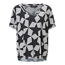 Buy Maison Scotch Star Print T-Shirt, Grey Online at johnlewis.com