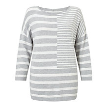 Buy Gerry Weber 3/4 Sleeve Stripe Jumper, Grey/White Online at johnlewis.com