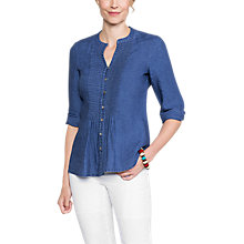 Buy East Linen Pintuck Blouse, Indigo Online at johnlewis.com