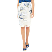 Buy Jacques Vert Floral Print Lace Skirt, Cream/Multi Online at johnlewis.com