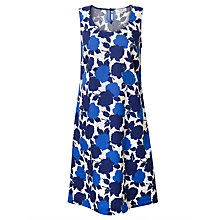 Buy East Linen Sicily Floral Print Dress, Ocean Online at johnlewis.com