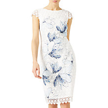 Buy Jacques Vert Printed Lace Dress, White/Blue Online at johnlewis.com