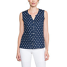Buy East Linen Spot Sleeveless Shirt, Navy Online at johnlewis.com