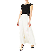 Buy Jacques Vert Embroidered Bodice Maxi Dress, Black/White Online at johnlewis.com