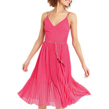 Buy Oasis Lace Hem Pleat Midi Dress, Mid Pink Online at johnlewis.com