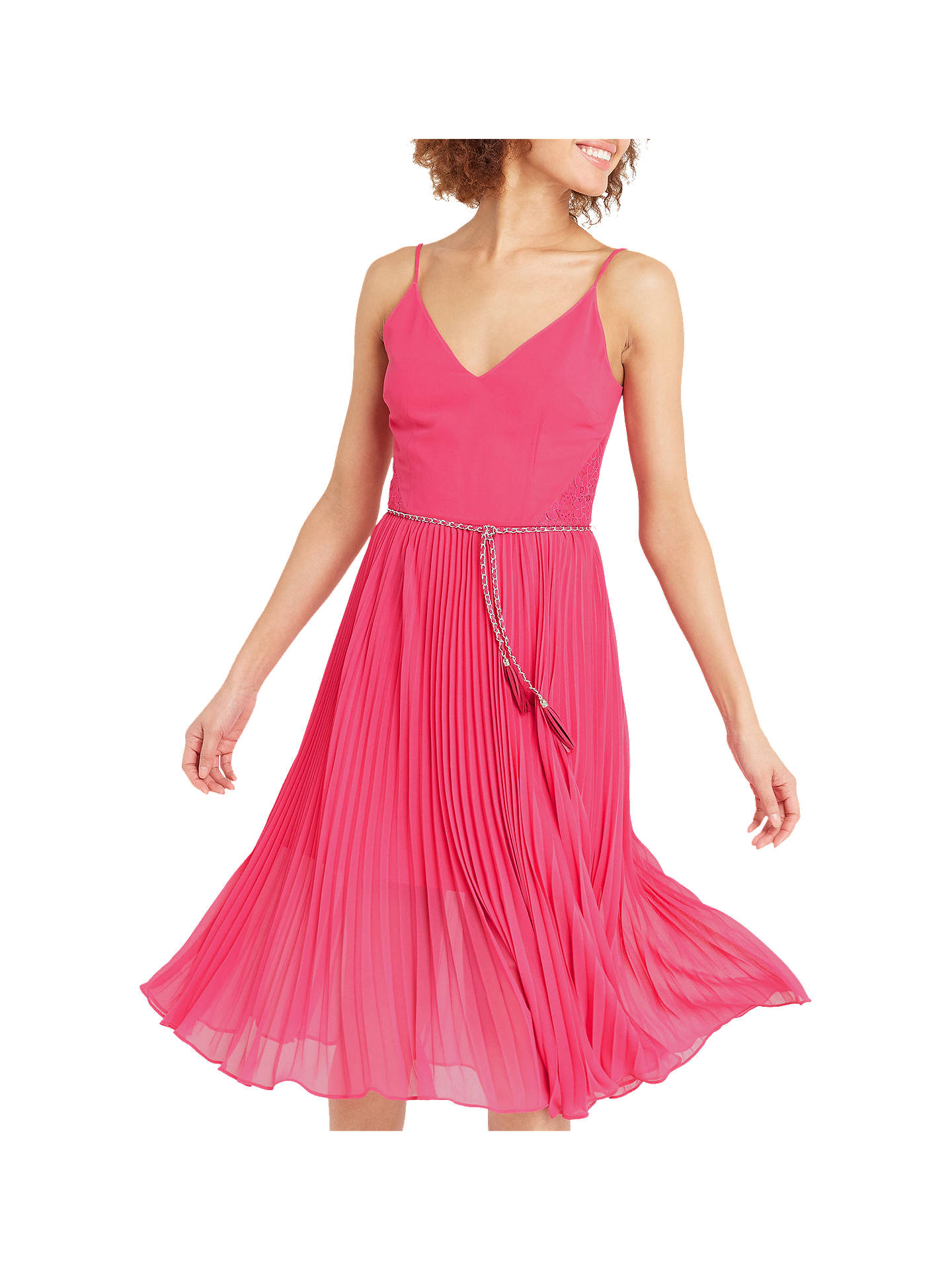 17c5209a869c Buy Oasis Lace Hem Pleat Midi Dress, Mid Pink, 8 Online at johnlewis.