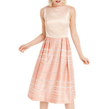 Buy Oasis Organza 2 in 1 Stripe Dress, Multi/Pink Online at johnlewis.com