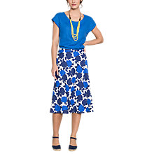 Buy East Linen Sicily Print Floral Skirt, Ocean Online at johnlewis.com