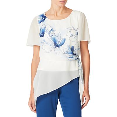 Jacques Vert Floral Print Tie Top, Cream/Blue