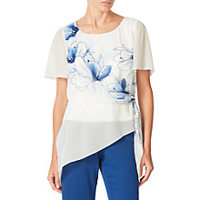 Buy Jacques Vert Floral Print Tie Top, Cream/Blue Online at johnlewis.com