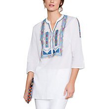 Buy East Multi Colour Embroidered Blouse, White Online at johnlewis.com